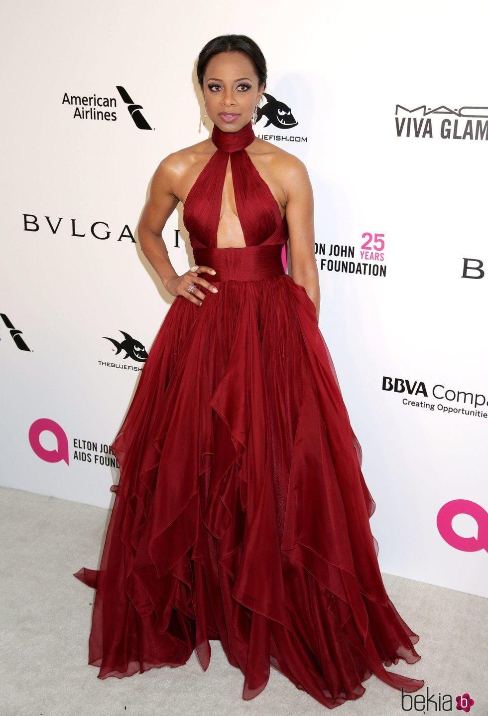 Nischelle Turner en la fiesta de la Fundación Elton John tras los Oscar 2018