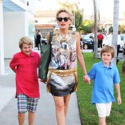 Sharon Stone junto a sus hijos Laid Vonne y Quin Kelly