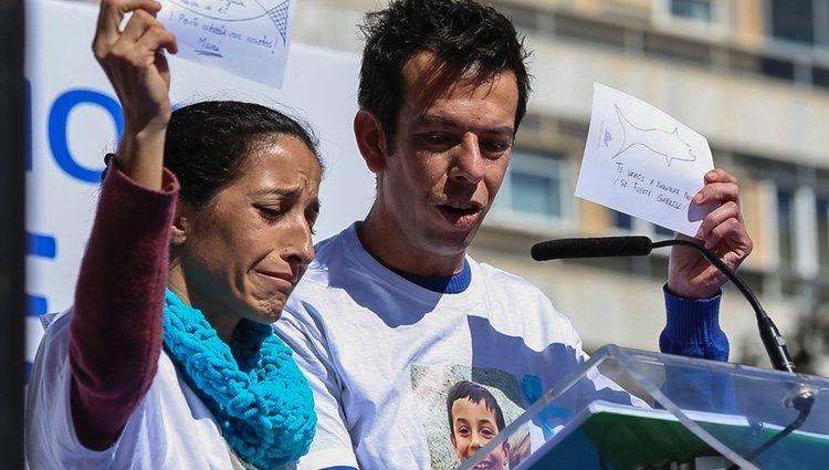 Patricia Ramírez y Ángel Cruz en la concentración por Gabriel en Almería