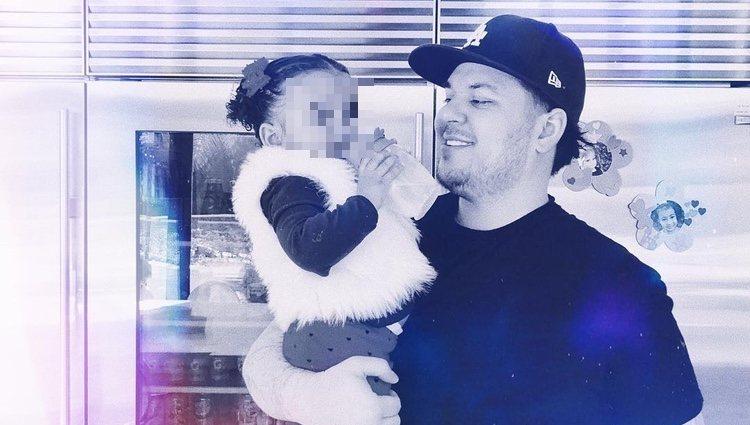 Rob Kardashian, junto a su hija en un post de Instagram de Khloe Kardashian