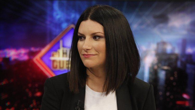 Laura Pausini con media melena en el programa El Hormiguero 2.0 presentado por Pablo Motos 2018