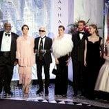 La familia Grimaldi junto a Karl Lagerfeld en el Baile de la Rosa 2018