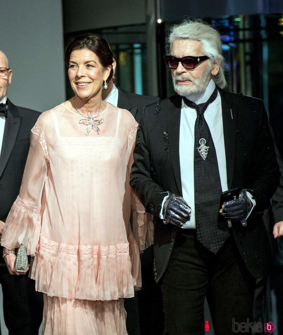 Carolina de Mónaco y Karl Lagerfeld en el Baile de la Rosa 2018