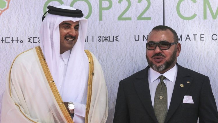 El Emir de Catar, Tamim bin Hamad Al-Thani, con el Rey Mohamed VI de Marruecos