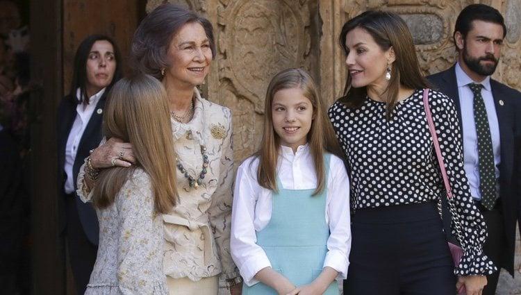 La Reina Sofía, la Reina Letizia, la Princesa Leonor y la Infanta Sofía en la Misa de Pascua 2018