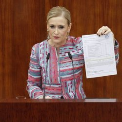 Cristina Cifuentes compareciendo en la Asamblea de Madrid para dar explicaciones sobre su máster