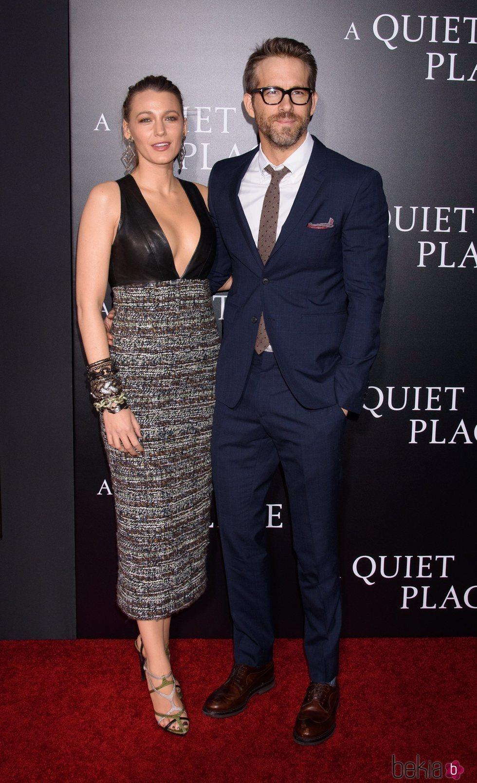 Blake Lively y Ryan Reynolds durante la presentación de la película 'A quiet place'