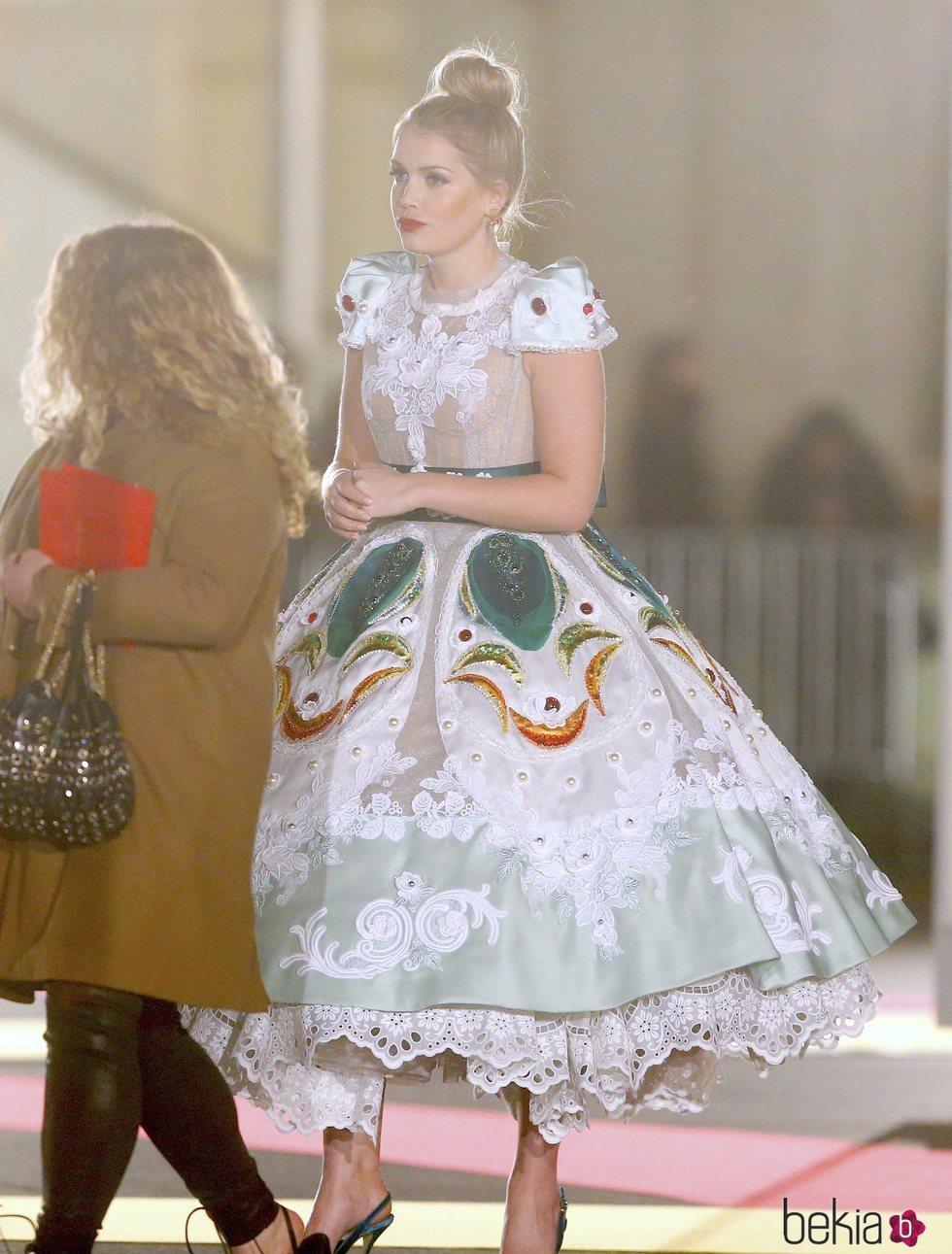 Lady Kitty Spencer en un desfile de Dolce & Gabbana en Nueva York