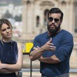 Mario Casas y Blanca Suárez en la presentación de la película 'El Bar'