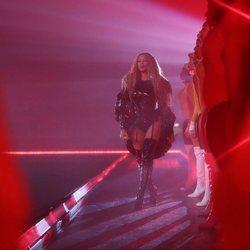 Beyoncé durante su actuación en el festival Coachella 2018