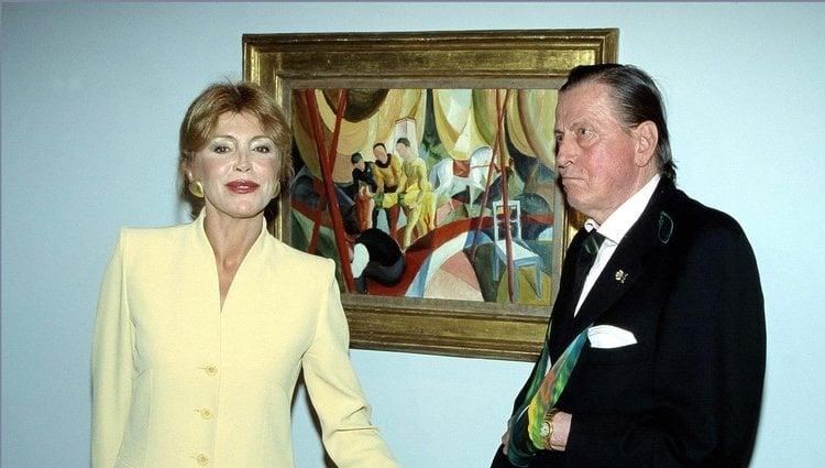 Carmen Cervera y el Barón Thyssen en el Museo Thyssen de Madrid