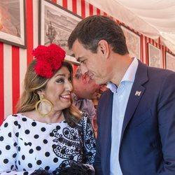 Pedro Sanchez y Susana Díaz coinciden durante la Feria de Abril 2018