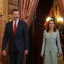 Los Reyes Felipe y Letizia en el almuerzo previo a la entrega del Premio Cervantes 2017