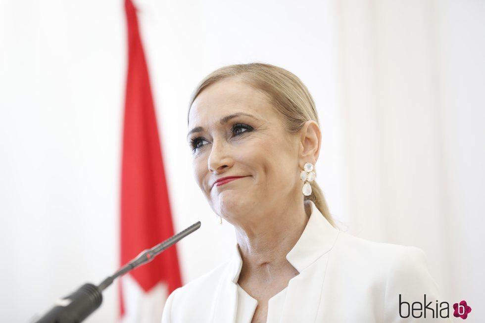 Cristina Cifuentes en la rueda de prensa en la que ha anunciado su dimisión