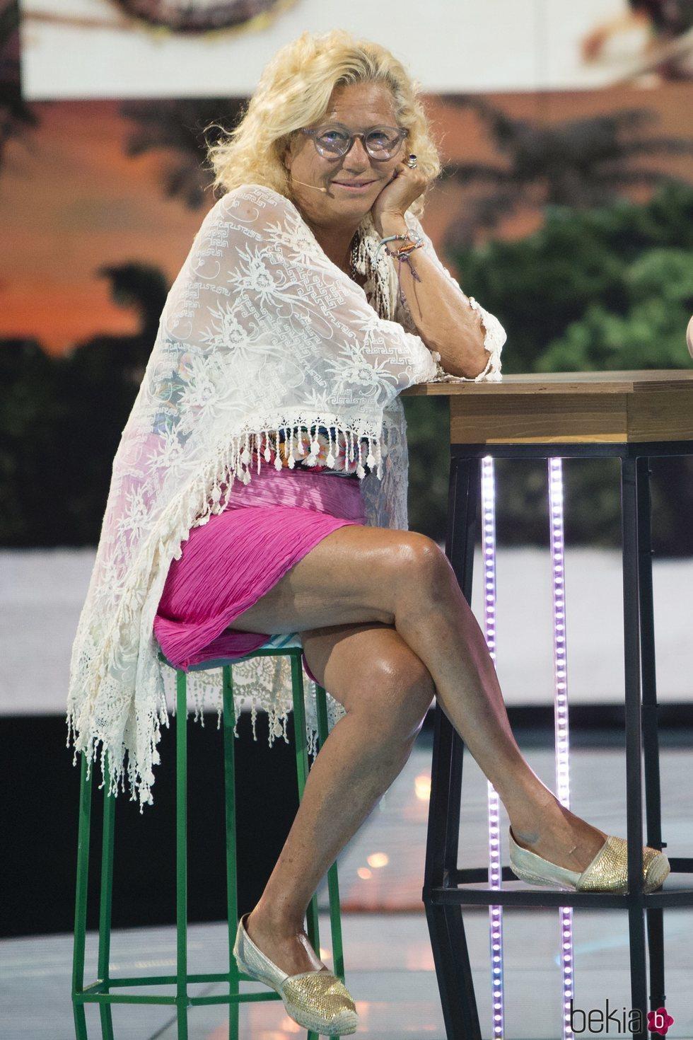 Mayte Zaldívar en el plató de 'Supervivientes 2018' durante la gala 7