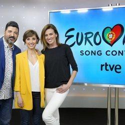 Tony Aguilar, Julia Varela y Nieves Álvarez en el evento de despedida antes de Eurovisión 2018