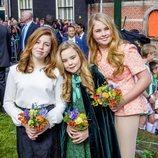 Las princesas Alexia, Ariane y Amalia en el cumpleaños del Rey Guillermo de Holanda