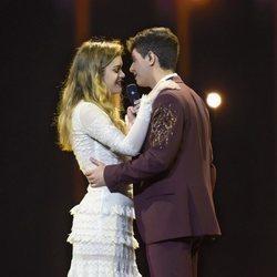 Amaia y Alfred durante el primer ensayo general previo a Eurovisión 2018