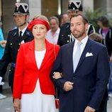 Guillermo y Estefanía de Luxemburgo en la procesión de la Octava Católica