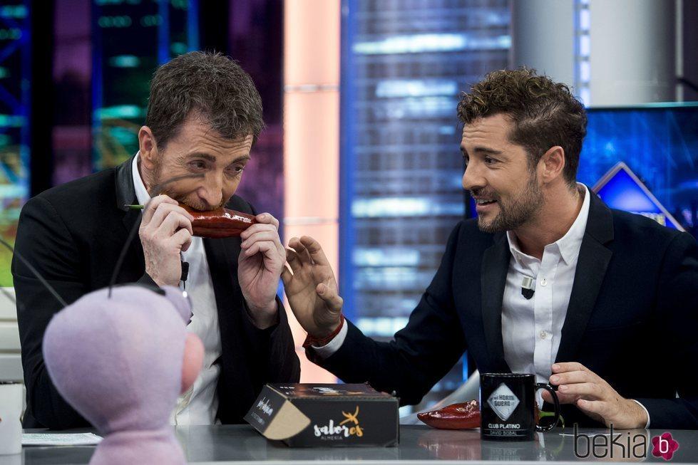 Pablo Motos comiendo un pimiento regalo de David Bisbal