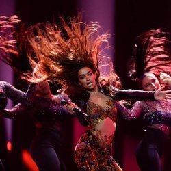 Eleni Foureira, presentando su canción 'Fuego' en el Festival de Eurovisión 2018