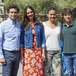 Pepe Rodríguez, Eva González, Samantha Vallejo-Nájera y Jordi Cruz en una e las grabaciones de 'Masterchef Celebrity 3'