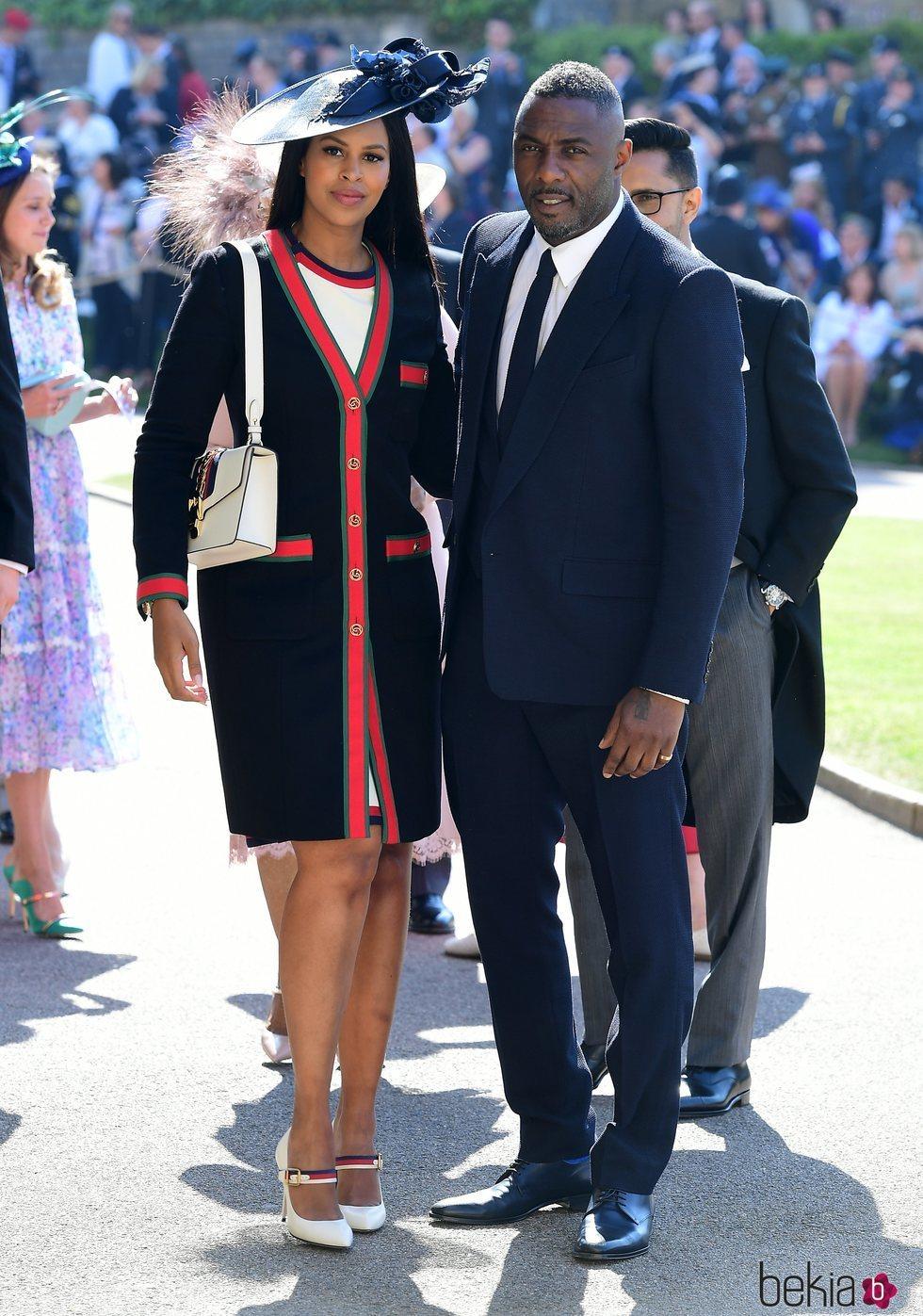 Idris Elba y Sabrina Dhowre en la boda del Príncipe Harry y Meghan Markle