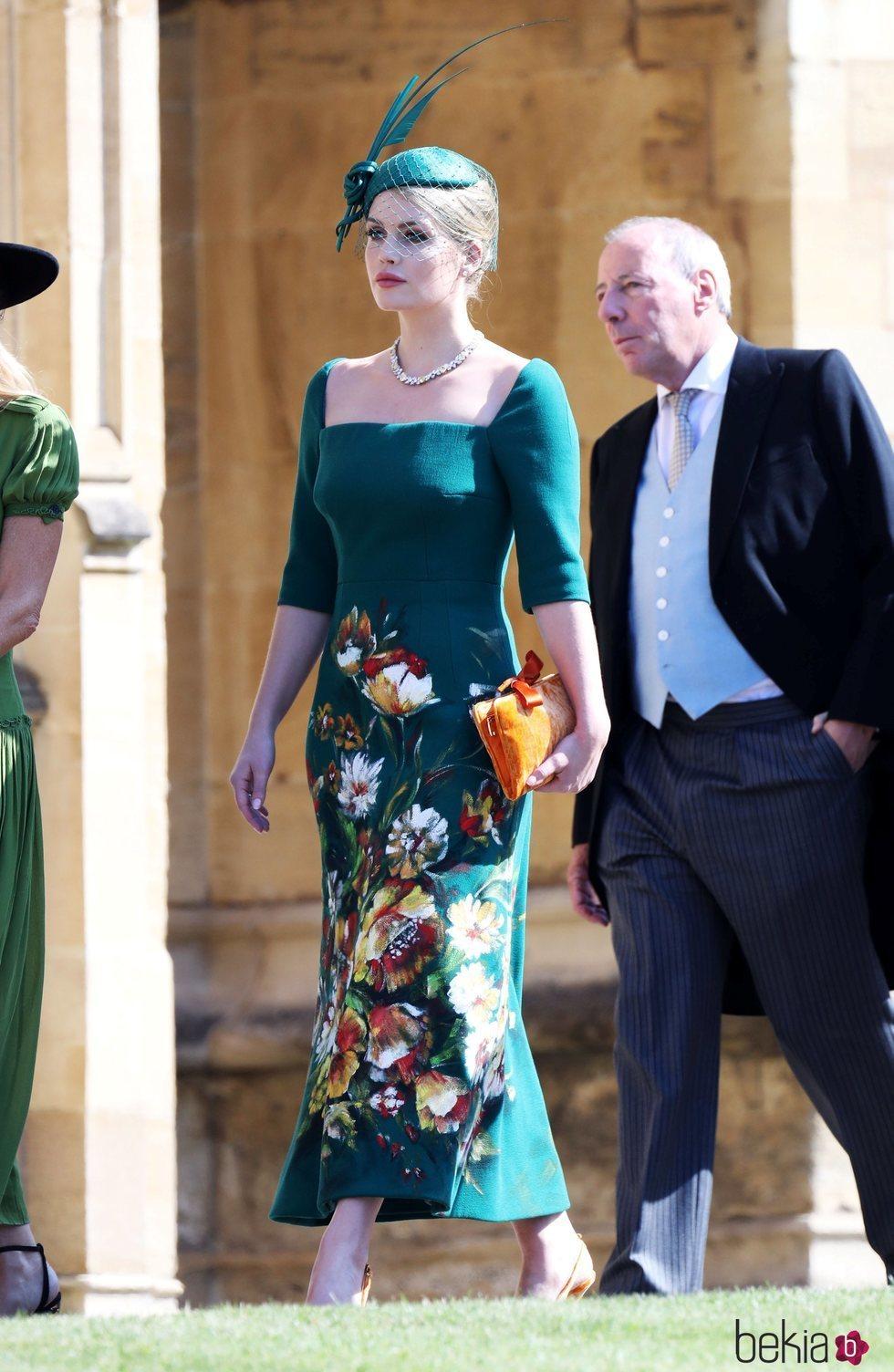 Lady Kitty Spencer llegando a la boda del Príncipe Harry y Meghan Markle