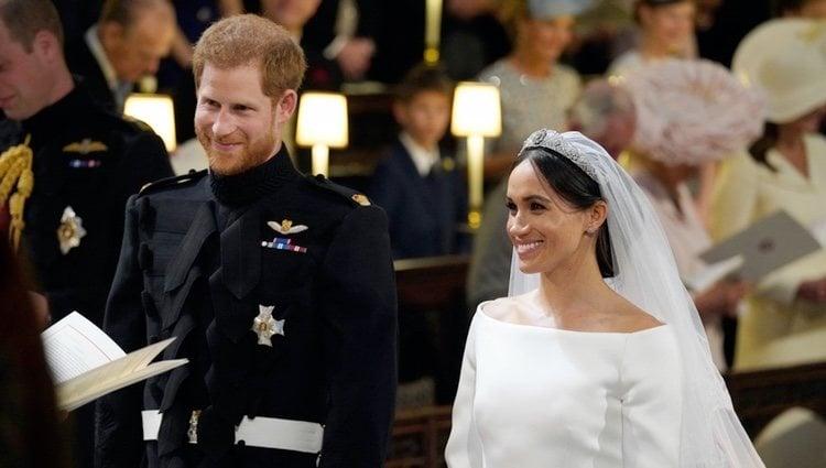 El Príncipe Harry y Meghan Markle durante su boda en la Capilla de San Jorge