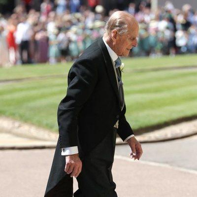 El Duque de Edimburgo llegando a la boda del Príncipe Harry y Meghan Markle