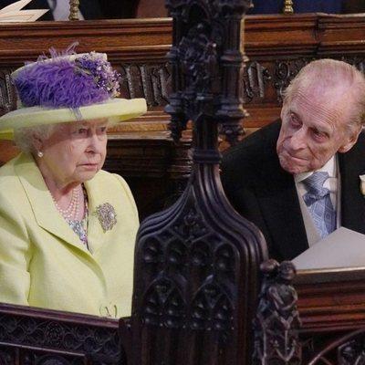 La Reina Isabel II y el Duque de Edimburgo durante la boda del Príncipe Harry y Meghan Marlkle