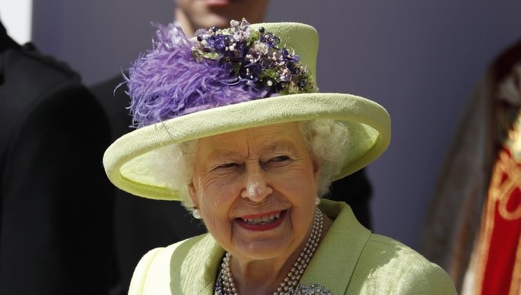 La Reina Isabel II a la salida de la boda del Príncipe Harry y Meghan Markle