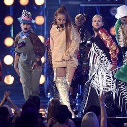 Janet Jackson actuando durante la Gala de los Premios Billboard 2018