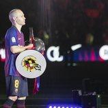 Andrés Iniesta durante su despedida del F.C. Barcelona en el Nou Camp