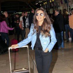 Sara Sálamo en el aeropuerto Adolfo Suárez