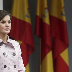 La Reina Letizia, con gesto serio en el desfile de las Fuerzas Armadas en Logroño