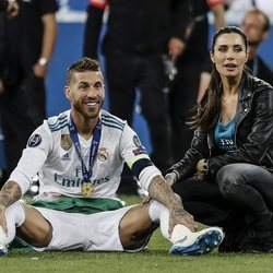Sergio Ramos y Pilar Rubio celebrando la victoria del Real Madrid en la Champions 2018
