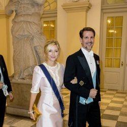 El Príncipe Pablo de Grecia y Marie Chantal de Grecia en la cena de gala del 50 cumpleaños de Federico de Dinamarca
