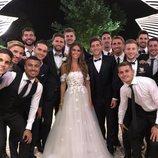 Algunos jugadores de fútbol en la boda de Sergi Roberto y Coral Simanovich