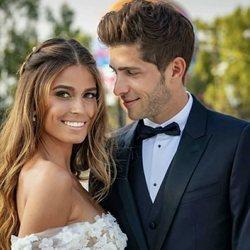 Coral Simanovich y Sergi Roberto durante su boda