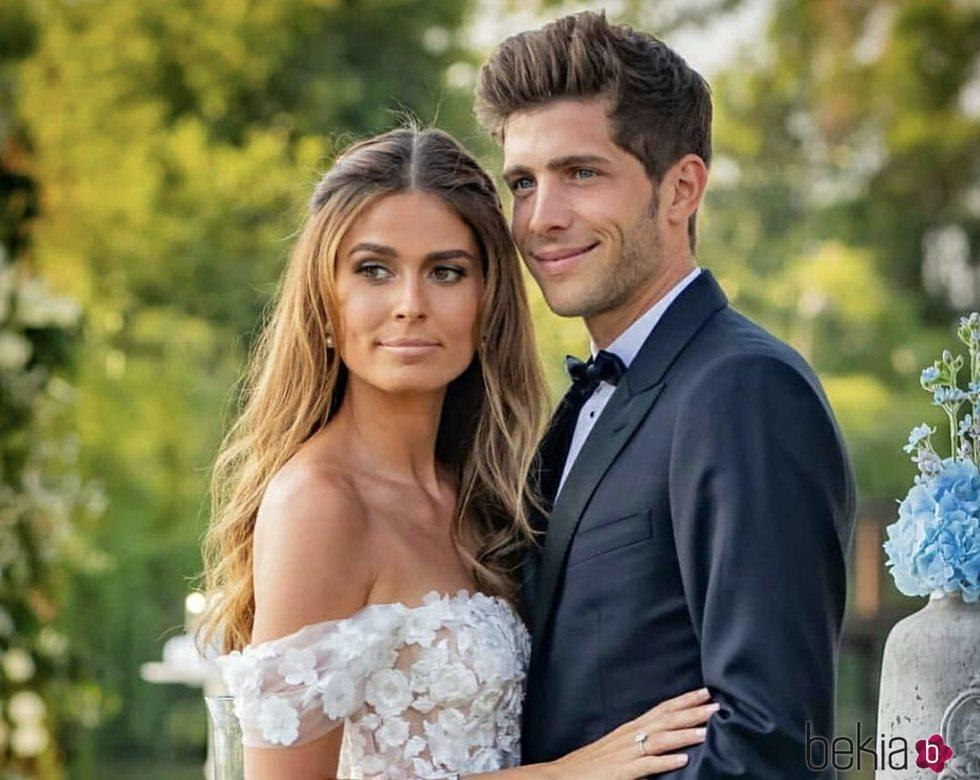 Sergi Roberto y Coral Simanovich, felices durante su boda