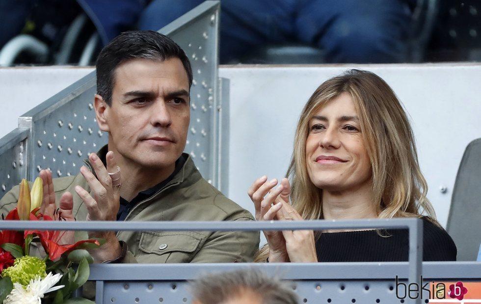 Pedro Sánchez y Begoña Gómez en el Open de Madrid 2018
