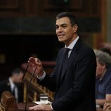 Pedro Sánchez durante su intervención en la moción de censura contra Mariano Rajoy