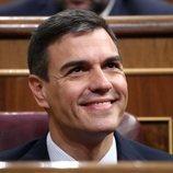 Pedro Sánchez sonríe ante el triunfo de la moción de censura contra Mariano Rajoy