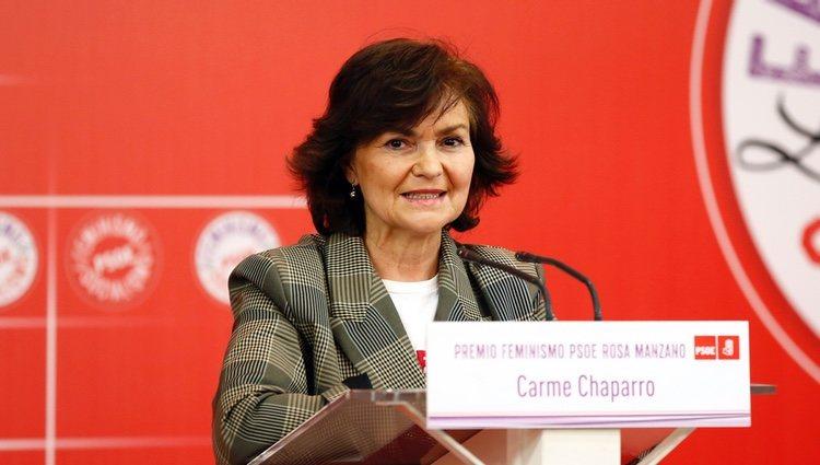Carmen Calvo en un acto a favor del feminismo