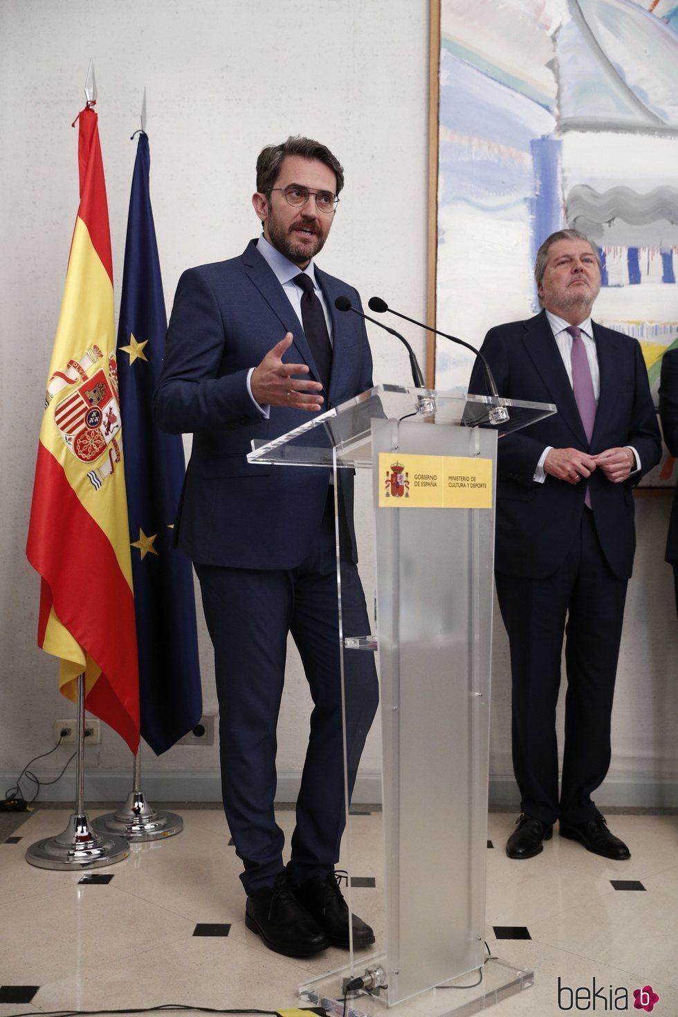 Màxim Huerta dando su primer discurso como Ministro de Cultura y Deportes