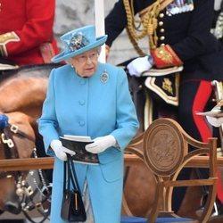 La Reina Isabel Isabel de Inglaterra durante la parada militar del Trooping The Colour 2018