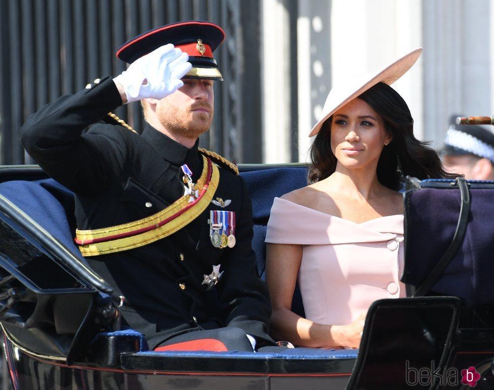 El Príncipe Harry y Meghan Markle en el Trooping The Colour 2018
