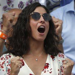 Xisca Perelló vibrando con la victoria de Rafa Nadal en Roland Garros 2018