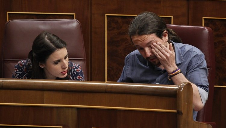 Irene Montero y Pablo Iglesias en una sesión del Congreso de los Diputados